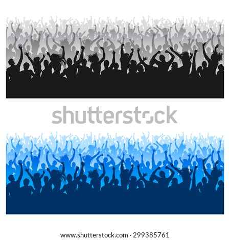 High Quality composition of a mixed group of male and female young people silhouettes posing as a cheering crowd for a concert or sport event. - stock vector