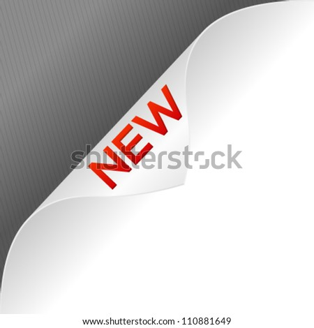 High quality curled paper corner with 3d new word. Vector illustration. - stock vector