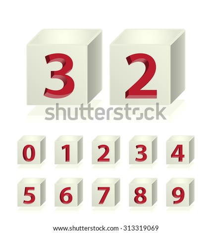 High Quality 3d Dice Numbers with Cavalier Perspective on White Background. - stock vector