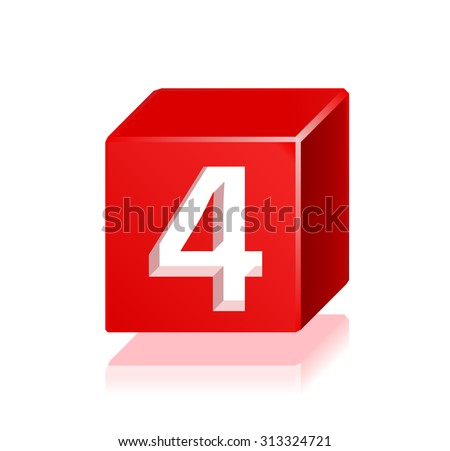 High Quality 3d Red Cube Number 4 with Cavalier Perspective on White Background. - stock vector