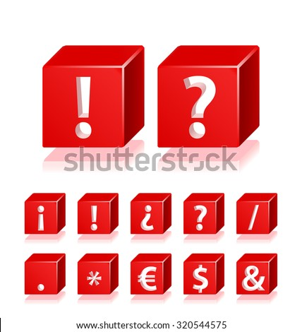 High Quality 3d Red Cube Symbols with Cavalier Perspective on White Background. - stock vector