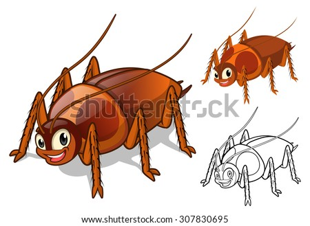 High Quality Detailed Cockroach Cartoon Character with Flat Design and Line Art Black and White Version Vector Illustration - stock vector