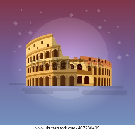 High quality, detailed most famous World landmark. Coliseum in Rome, Italy. Colosseum vector illustration. Travel vector. Travel illustration. Travel landmarks. Happy travel   - stock vector