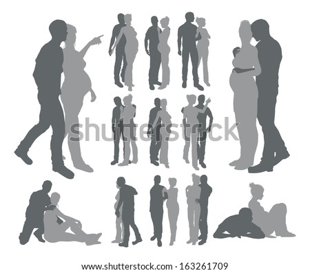 High quality detailed silhouettes of a young couple with pregnant woman in various poses - stock vector