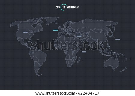 High quality detailed vector world map stock vector 622484717 high quality detailed vector world map with countries template isolated on coordinate grid background eps gumiabroncs Images