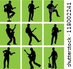 high quality guitar player silhouette set - stock vector