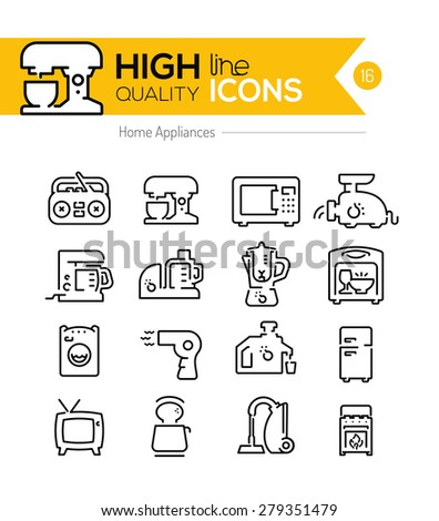 High Quality Home appliances line icons - stock vector