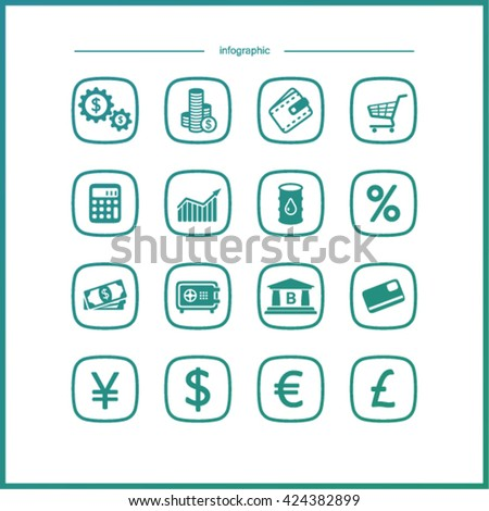 High quality  icon  set. Economics and finance.
