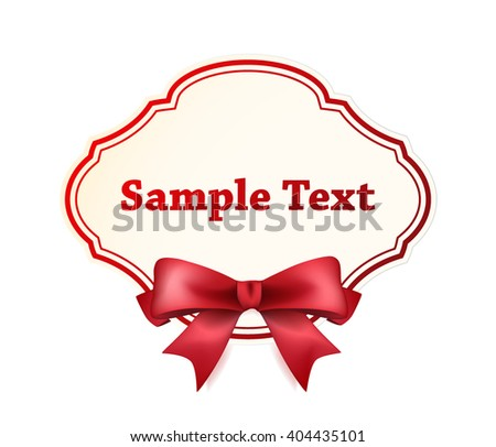 High Quality Label with Red Bow on White Background. Vector Isolated Illustration. - stock vector