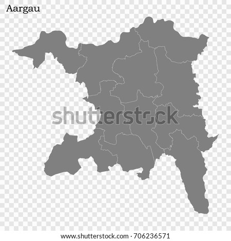 High Quality Map Aargau Canton Switzerland Stock Vector 706236571