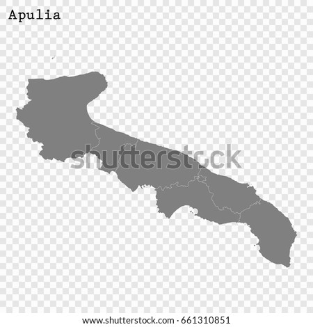 High Quality Map Apulia Region Italy Stock Vector 661310851