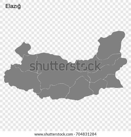 High Quality Map Elazig Province Turkey Stock Vector 704831284