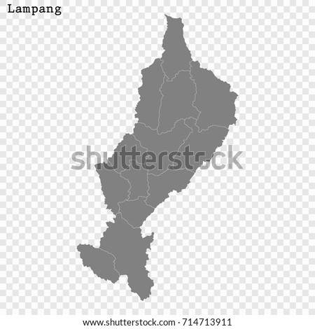 High Quality Map Lampang Province Thailand Stock Vector 714713911