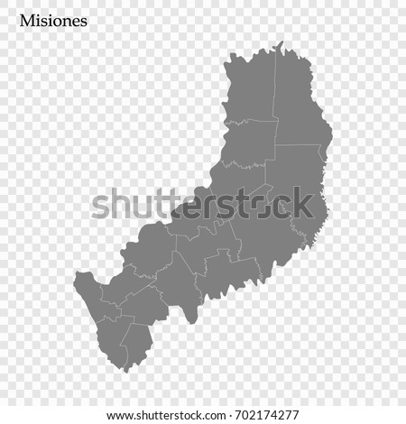 High Quality Map Misiones Province District Stock Vector 702174277
