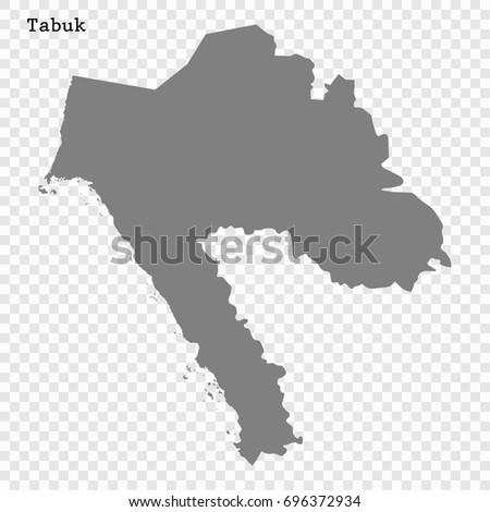 High Quality Map Tabuk Region Saudi Stock Vector 696372934