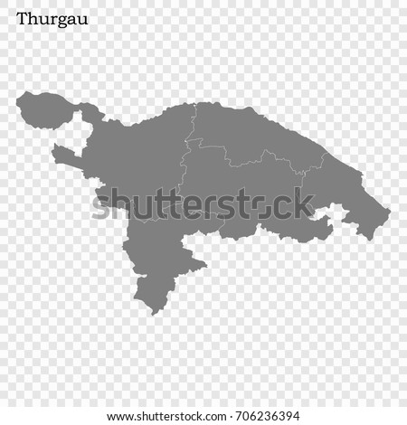 High Quality Map Thurgau Canton Switzerland Stock Vector 706236394