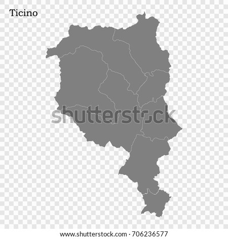 High Quality Map Ticino Canton Switzerland Stock Vector 706236577