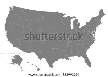 High Quality Map Usa Borders Regions Stock Vector 583993291