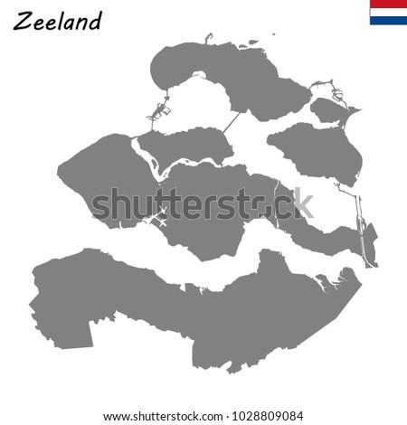 High Quality Map Zeeland Province Netherlands Stock Vector