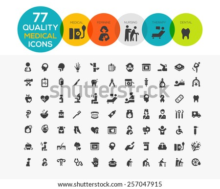 High Quality Medical Icons including: spa, elder care, feminine health care, dental etc.. - stock vector