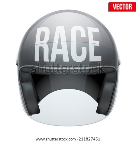High quality motorcycle helmet with inscription Race in front. Vector Illustration isolated on white background. - stock vector