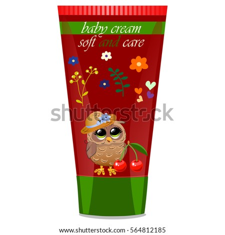 High quality original trendy vector cherry Baby cream with kids design and owl on floral background illustration