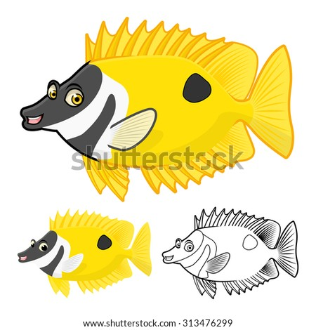 High Quality Rabbit Fish Cartoon Character Include Flat Design and Line Art Version