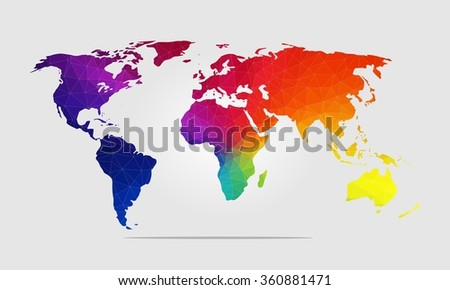 High Quality Rainbow World Map Polygon Background Vector Illustration