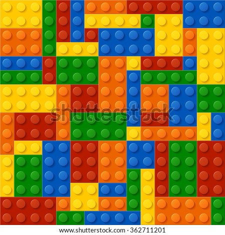 High quality seamless background of colored plastic bricks. More realistic. The colors don't mix with each other. The amount of details is equal by shape and color. Every kit detail is grouped. Enjoy! - stock vector