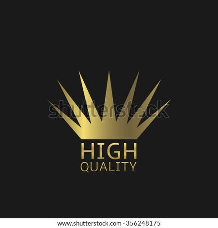 High quality symbol. Golden crown, Vector illustration - stock vector