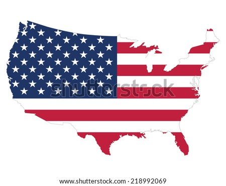 High quality United States map of America with Flag style, border of map has separately and can be colored as desired.  - stock vector