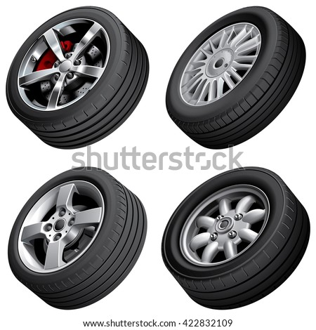 High quality vector bundle of alloy wheels, isolated on white background. File contains gradients, blends and transparency. No strokes. - stock vector