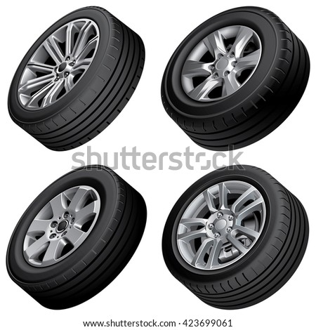 High quality vector bundle of passenger cars alloy wheels, isolated on white background. File contains gradients, blends and transparency. No strokes. - stock vector