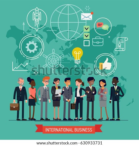 High quality vector concept layout on international business featuring worldwide global corporate business people line-up with abstract world map on background