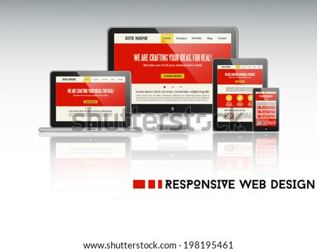 High quality vector illustration of responsive web design as seen on desktop monitor, laptop, tablet and smartphone, isolated on light background. - stock vector