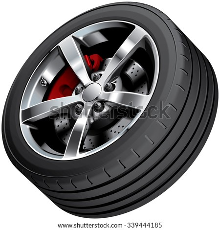 High quality vector image of sports car's wheel, isolated on white background. File contains gradients, blends and transparency. No strokes. - stock vector