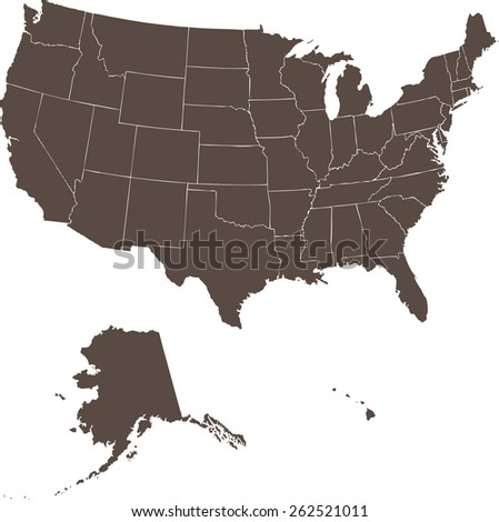 High quality vector map of the United States. Each State is it's own shape and can be colored to your own preference. - stock vector