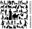 High quality vector silhouettes of people and dogs, for design and polygraphs. - stock vector