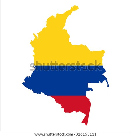 High resolution Colombia map with country flag. Flag of the Colombia  overlaid on detailed outline map isolated on white background