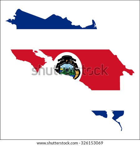 High resolution Costa Rica map with country flag. Flag of the Costa Rica  overlaid on detailed outline map isolated on white background - stock vector