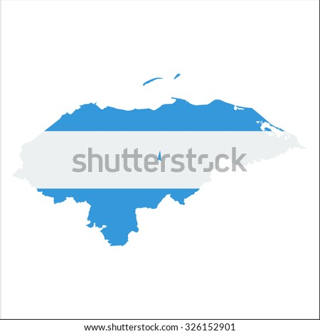 High resolution Honduras map with country flag. Flag of the Honduras  overlaid on detailed outline map isolated on white background - stock vector