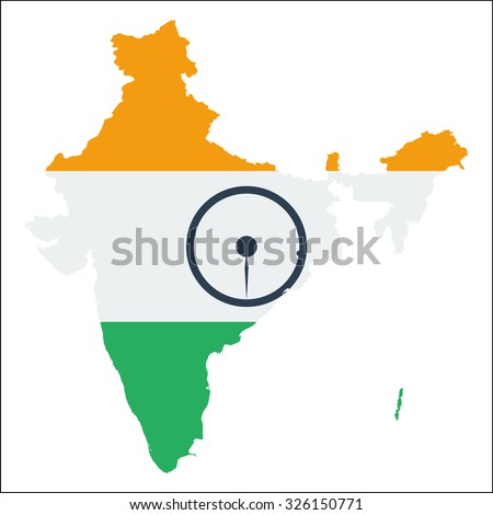 High resolution India map with country flag. Flag of the India  overlaid on detailed outline map isolated on white background - stock vector