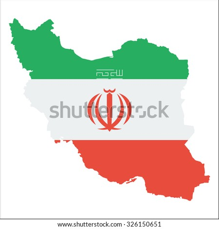 High resolution Iran map with country flag. Flag of the Iran  overlaid on detailed outline map isolated on white background - stock vector