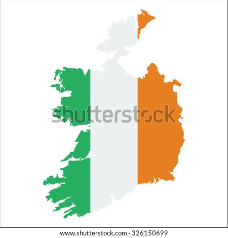 High resolution Ireland map with country flag. Flag of the Ireland  overlaid on detailed outline map isolated on white background - stock vector