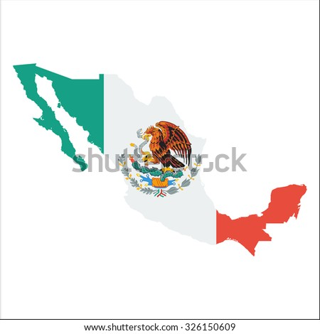 High resolution Mexico map with country flag. Flag of the Mexico  overlaid on detailed outline map isolated on white background - stock vector
