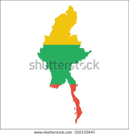 High resolution Myanmar map with country flag. Flag of the Myanmar  overlaid on detailed outline map isolated on white background - stock vector