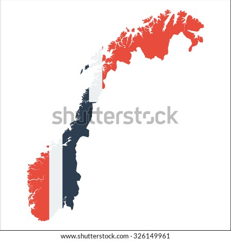 High resolution Norway map with country flag. Flag of the Norway  overlaid on detailed outline map isolated on white background - stock vector