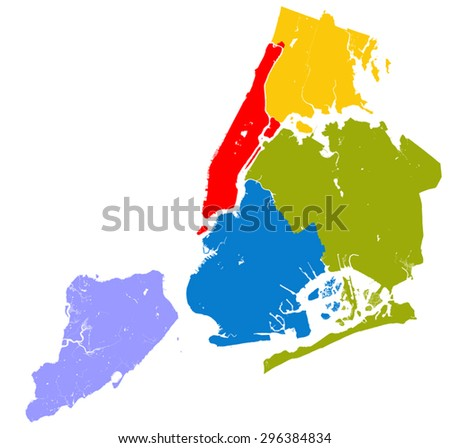 high resolution outline map of new york city with nyc boroughs each boroughs placed on