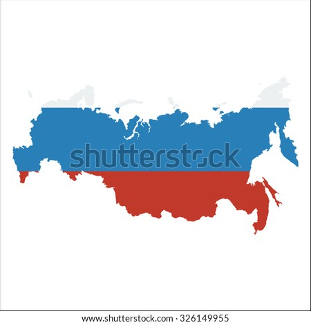High resolution Russia map with country flag. Flag of the Russia  overlaid on detailed outline map isolated on white background - stock vector