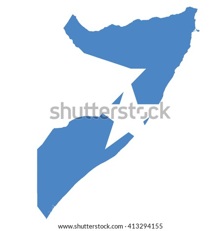 High resolution Somalia map with country flag. Flag of the Somalia overlaid on detailed outline map isolated on white background - stock vector